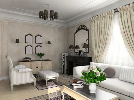 гостиная в квартире в классическом стиле