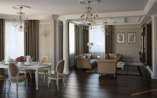 столовая и гостиная в классическом стиле