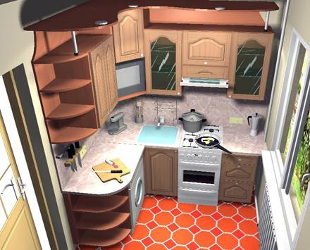 распределение шкафов на маленькой кухне