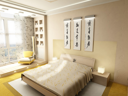Кровать в спальне в японском стиле