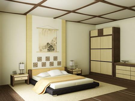 Цвета интерьера японской спальни