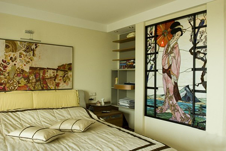 Витраж в спальне в японском стиле