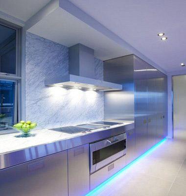 Освещение в кухне хай тек