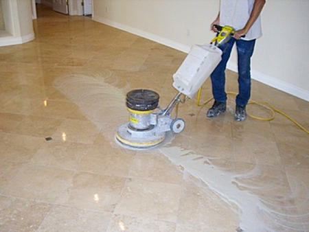 Finishing polished marble floor