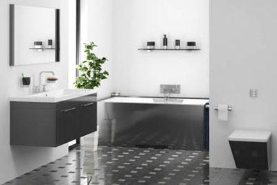 Дизайн черно белой ванной комнаты в стиле модерн