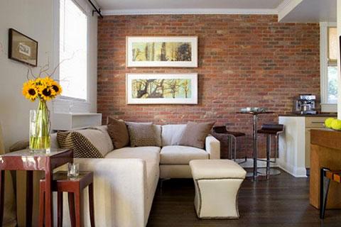 Декоративный кирпич в интерьере гостиной