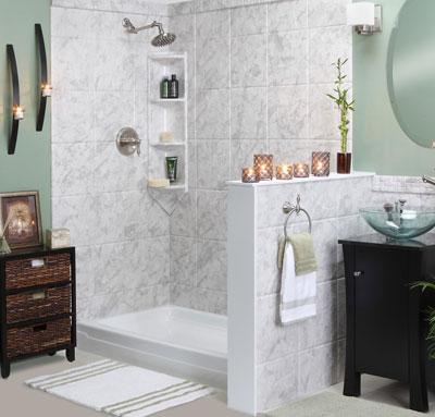 Визуальное зонирование ванной комнаты