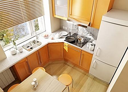 Жалюзи на маленькой кухне