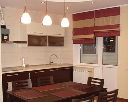 Идеи римских штор для кухни