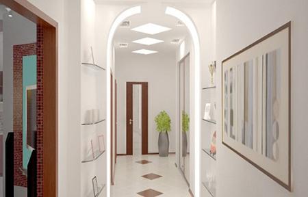 Освещение длинного коридора