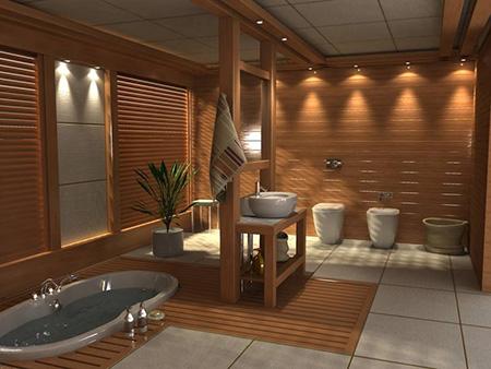 Термодерево в отделке ванной комнаты