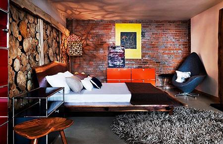 Красная спальня в стиле лофт