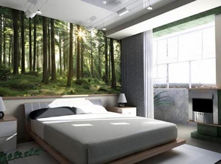 Природные фотообои в спальне