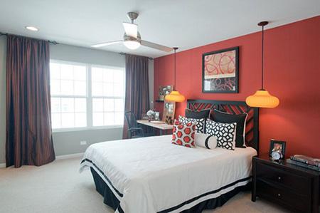 Цвет стен в красной спальне