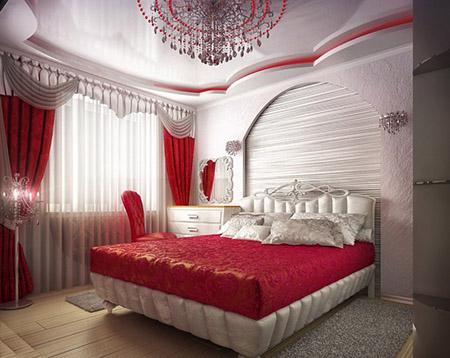 Красный и белый цвет в спальне