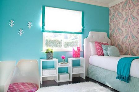 Сочетание розового с голубым в спальне