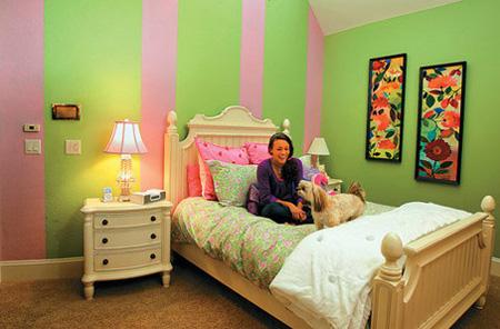 Розово-зеленая спальня для подростка