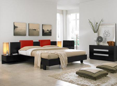 Современный дизайн спальни с японскими мотивами
