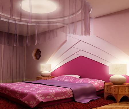 Спальня розовая с сиреневым