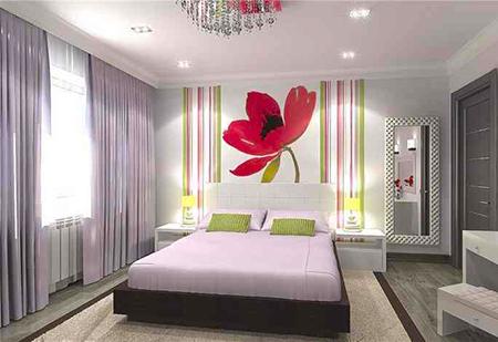 Стильная комбинация обоев в спальне
