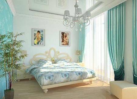 Гармоничная бирюзовая спальня
