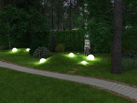 LED светильники в саду