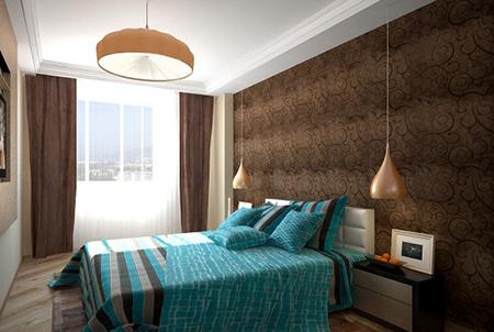 Шоколадно-бирюзовая спальня