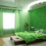 Оформление спальни в зеленых тонах