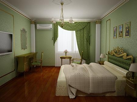 Зеленая спальня в классическом стиле