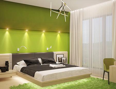 Зеленая спальня в стиле минимализм