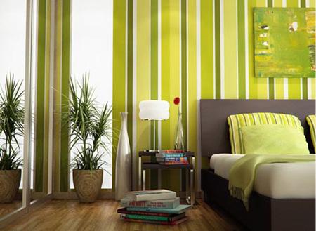 Зеленый цвет с добавлением желтого в спальне