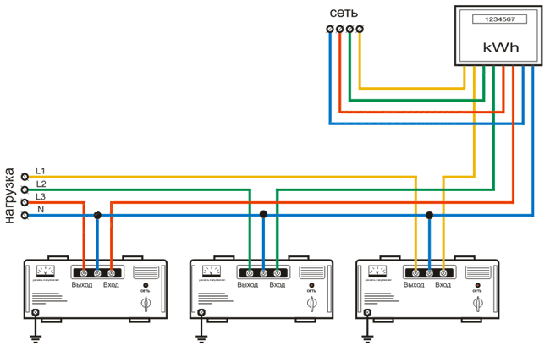 Схема подключения трех однофазных стабилизаторов в сеть 380в