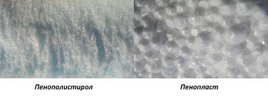 Пенопласт и пенополистирол в разрезе