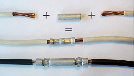 Процесс опрессовки проводов гильзой