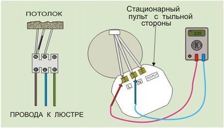 Подключение люстры со стационарным пультом