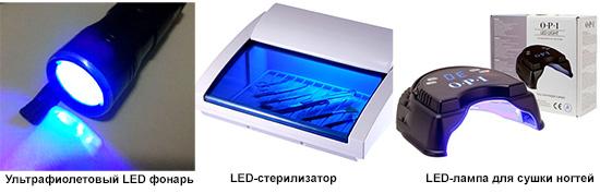 Применение ультрафиолетовых светодиодов